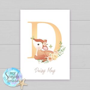 Set of 3 Woodland Deer prints with name