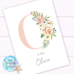 Pretty Floral Initial print for girls bedroom or nursery, pink Initial with flowers and name, wall decor.