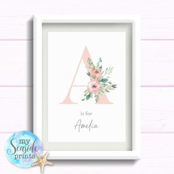 Personalised print for baby girls nursery. Floral Initial with flowers and name. Gift for newborn baby girl. Birthday gift.