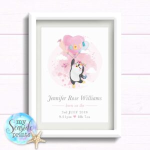 Personalised gift for newborn baby girl. Penguin heart balloon print. Gift for baby girls birthday. Pink Newborn baby present.