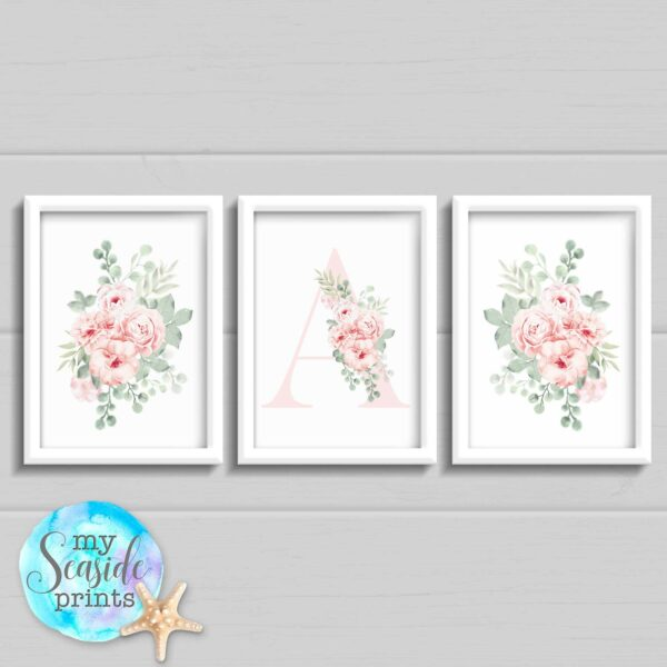 set of 3 pastel floral prints with initial