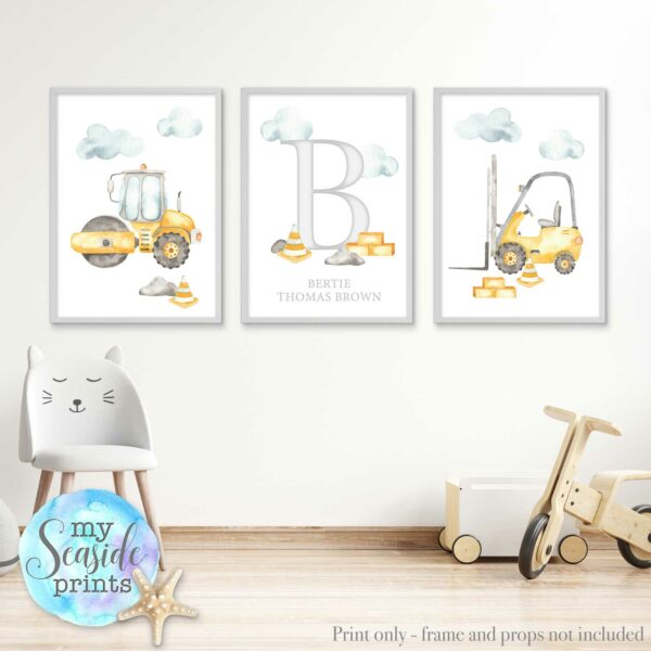 Set of 3 boys construction themed prints