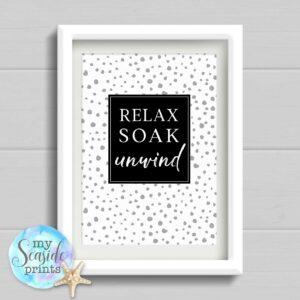 Relax soak Unwind Spotty Bathroom Print