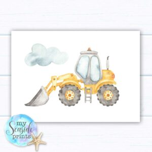 Set of 3 boys construction themed prints