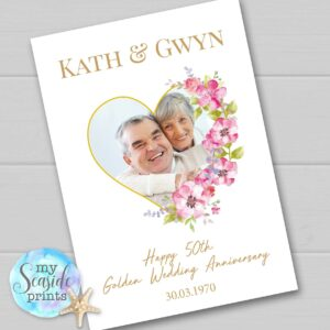 Golden Wedding Anniversary Gift for mum, dad, grandma, grandad, him, her, couple, husband or wife. Personalised Print with photo for 50th.