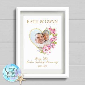 Golden Wedding Anniversary Print with photo