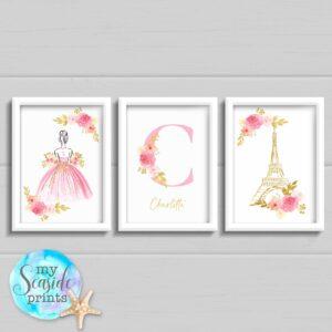 Set of 3 princess paris prints