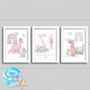 Set of 3 Pastel Dinosaur prints for baby girls bedroom or nursery