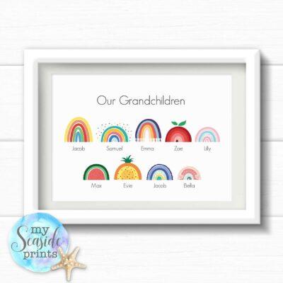 Personalised rainbow family print with grandchildren's names