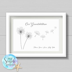 dandelion flower family print