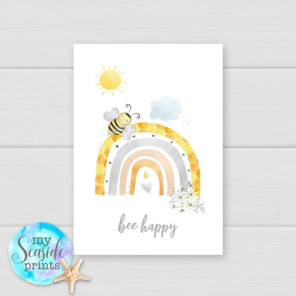 Set of 3 Pastel Bee and rainbow prints for baby girls bedroom or nursery