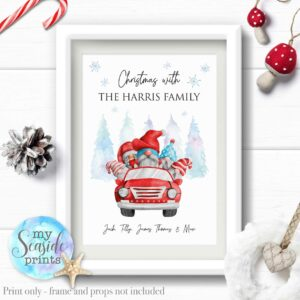 Fun Christmas Gonks in Cars Family Print