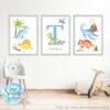 Set of 3 dinosaur prints for boys nursery