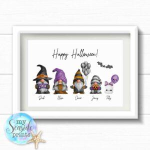 Personalised Halloween Gonk Family Print