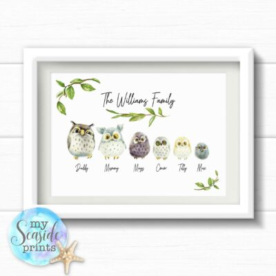 Personalised Owl Family Print with Names