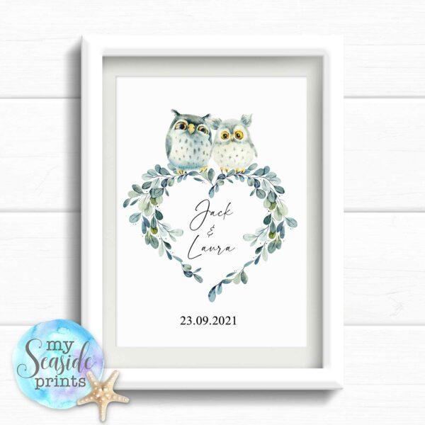 Personalised Owl Wedding Gift