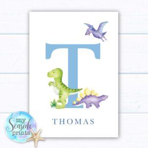 Set of 3 dinosaur themed prints for boys nursery