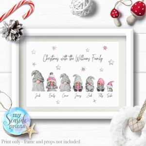 pink and grey christmas gonk family print