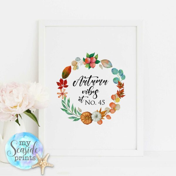 Autumn vibes personalised wall decor print with house number, Autumnal pumpkins, leaves and berries